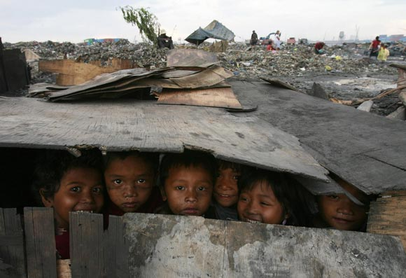 Children on waste site