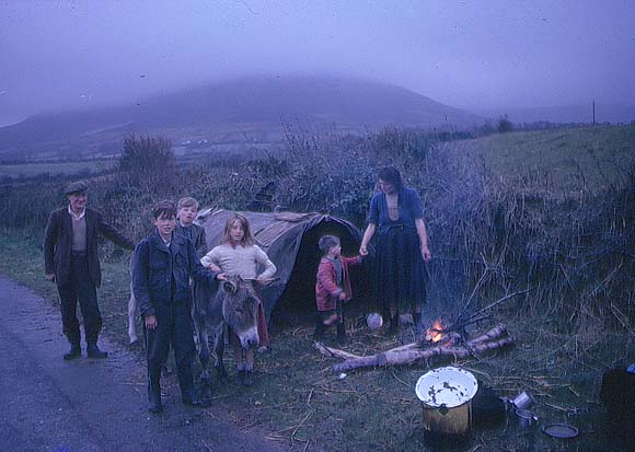 Irish Travellers at roadside campfire (June 1963) by Richard Tilbrook
